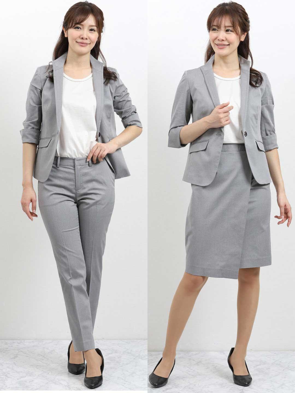 1513dc2fea40e ストレッチオックス スタンドカラー7分袖ジャケット+スカート+パンツ