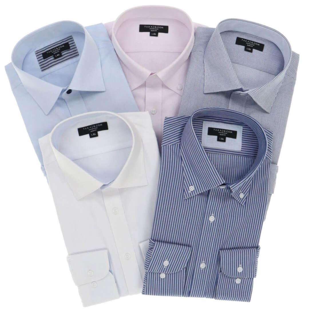 形態安定抗菌防臭 スリムフィット長袖シャツ5枚セット