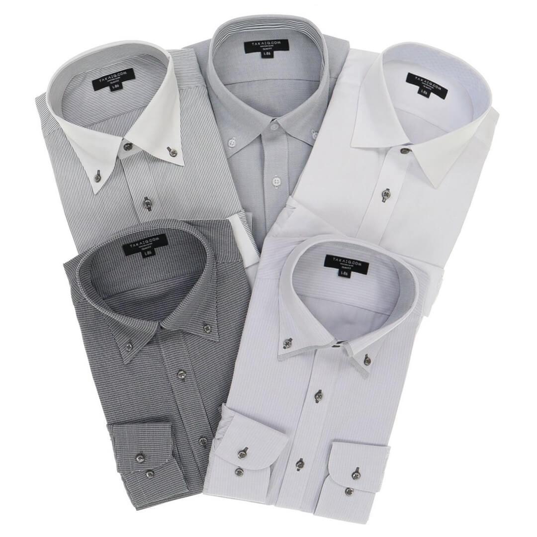 スリムフィット長袖シャツ5枚セット