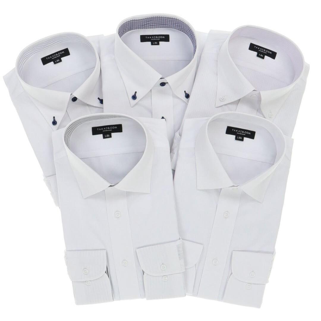 形態安定抗菌防臭 レギュラーフィット長袖シャツ5枚セット