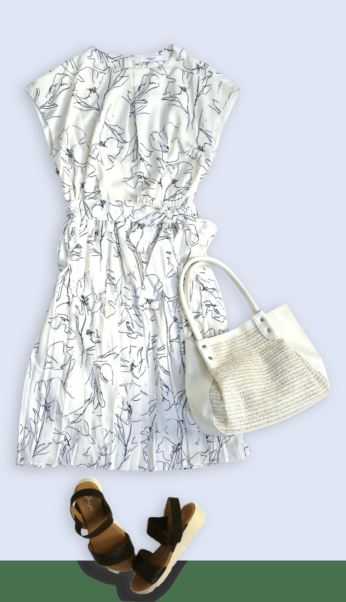 サテン布帛 半袖花柄プリーツワンピース